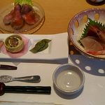 87296523 - 前菜、お刺身、ローストビーフ、茶碗蒸し