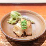 富小路 やま岸 - 京都・物集女の白子筍の炭火焼き、 こしあぶらの天ぷら
