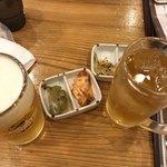 元祥 - 料理写真:お通しと生ビール、ウーロンハイ