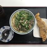 87312303 - 昆布のおにぎり・九条うどん肉・スルメイカの天ぷら