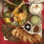 ビーダブリュー カフェ - 宇治抹茶ミルクのホットフルーツ鍋