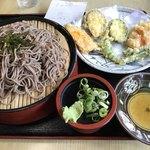 お多福うどん - ざるそばセット=610円 (野菜天ぷら+ざるそば)