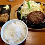 87348746 - 肉感ゴツゴツビーフハンバーグ 味噌汁セット(1338円)、唐揚げ(1個90円×3個)