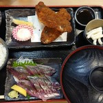 銀蔵 - 新鮮あじ定食(1500円)
