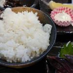 銀蔵 - 新鮮あじ定食(1500円) ご飯は1.2膳分ほど