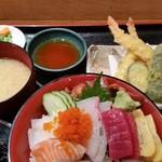 塚本鮮魚店 - 特選海鮮丼・天ぷら御膳。