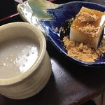 87355169 - 蕎麦湯と蕎麦豆腐