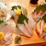 南部もぐり - 南部もぐり@八戸 お刺身盛合せ 鯛、ソイ、アイナメ、ブリ、サーモン