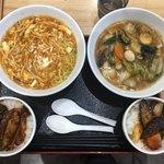三国志 - サンラータンメンと五目ソバ。それぞれ麻婆ナス丼がセットで798円