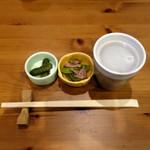 蕎麦酒膳くら嶋 - 蕎麦湯割り580円+税、お通し350円+税