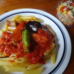 GnamGnam - 揚げ野菜のペンネアラビアータ