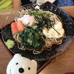 松本庵 - ねばとろ玉そば Chilled Buckwheat Soba Noodles topped with Gooey Melty Soft Boiled Egg at Matsumoto-an