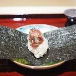 銀座 しのはら - 鮪といぶりがっこの巻き寿司