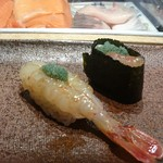 Otarumasazushizenan - ボタン海老  身の握り・頭の握り