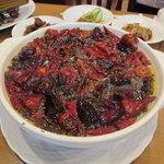 川香苑 - 川香沸騰魚 麻辣油と旬の魚和え(本日は鯛)