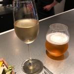 ル マルシャンド ボヌール - ◆ビール(小:800円:税別)とシャンパン。