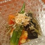 87422384 - 【煮物】長茄子と車海老の冷製揚げ浸し~じゅんさい入り土佐酢ジュレ~