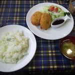 87422647 - 足柄コロッケセット(ライス・スープ・サラダ付き)850円(税別)