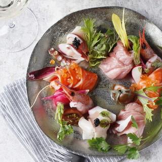 産直鮮魚のカルパッチョ盛り合わせ
