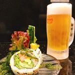 琉球回転寿司 海來 - ちゅらさんロールとオリオン生ビール