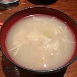 飯°駄 - お会計お願いしたら、なんと〆にお味噌汁のサービスが♡ パンダはじめてだったけど居心地いいし、また武蔵境の穴場みっけちった♪ 絶対また再訪しまーす!!