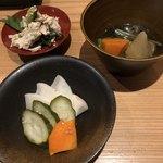 87446287 - 糠漬け、胸肉と胡瓜の和え物、猪肉出汁の野菜炊き