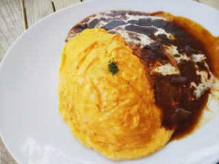 Cafe brunch TAMAGOYA - 【2018.06】デミグラスソースのオムライス(850円+税)