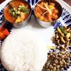 ハバチャル - 料理写真:2チョイス1100円 日替わり(真鯛とオクラ)ひよこ豆(クローブと生姜が効いてます)インディカ米は国産(これ最高です)緑豆ココナツあえ、キノコ、人参アチャール