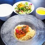 ガーブ ドレッシング - 週替りパスタランチ。冷製パスタ~色彩野菜のガスパチョ風~。