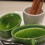 俺のフレンチ 博多 - 前菜(ロワイヤルほうれん草ソース、パスタフリット)