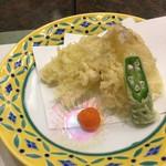 日本料理 ぎん - 鱚二匹と大きいオクラ半身が二個で一本分