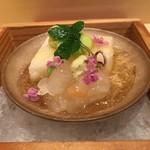 銀座 しのはら - 銀杯にのせた、山芋寒、射込んだ北海道の雲丹、伊勢海老、一寸豆