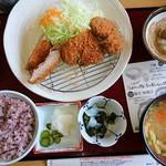 かつ波奈 - 料理写真:厚切りヒレ3枚定食 (税込1814円)