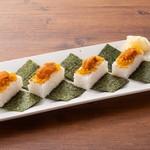 塩水雲丹とウニそぼろの箱寿司