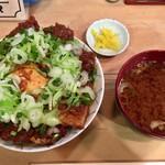 87516370 - 「元祖みそカツ丼」1320円+「豆腐味噌汁」100円+「ネギトッピング」100円