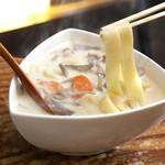 湯畑 草菴 - 湯の花豆乳おっきりこみ