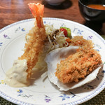 ちかさんの手料理 - 料理写真:岩牡蠣と車えびフライ