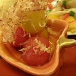 かごっま屋台 火の玉ボーイ - おばんざい盛(カラフルトマトの煮浸し)