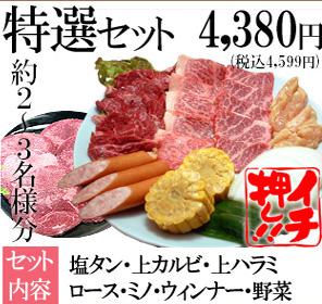 平和園 - ■塩タン・上カルビ・上ハラミ・ロース・上ミノ・ウィンナー・焼野菜■4380円■