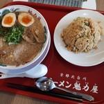 ラーメン魁力屋 - 料理写真:特製醤油味玉ラーメン焼きめし定食