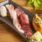 炙り肉寿司盛り合わせ【和牛とろカルビ・えんがわ・上稲荷・イベリコ豚】