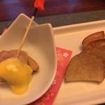桑名蛤料理・蛤しゃぶしゃぶ 貝新 - いぶりがっこと蛤の黄身酢和え