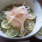 蕎香 - 料理写真:期間限定「夏の冷やかけそば」スダチ、おろし、みょうがであっさり頂けます♪
