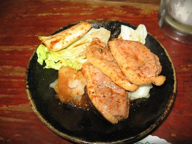 すゞ木 - 鴨とねぎの唐辛子風味焼き・かなり辛いです。