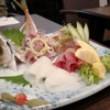 旬魚菜 しら川 - 料理写真:刺し身盛合せ(鯵、炙り黑ムツ、ワラサ、アオリイカ)