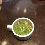 ヒデズキッチンアラカルト - 料理写真:コンソメスープ! 水菜と溶き卵が入ってます!