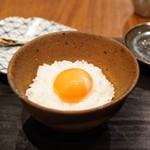 朝食 喜心 - 山田農園の生卵のトッピング