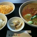 天津菜館 - サービスランチ 担々麺、カニ玉、小ライス  980円