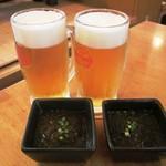 居酒屋SANUFA - オリオン生&お通し(もずく)