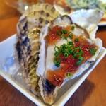 魚介酒場 北町商店 産直牡蠣と鮮魚のカルパッチョ - 産直生牡蠣ポン酢ジュレ¥290